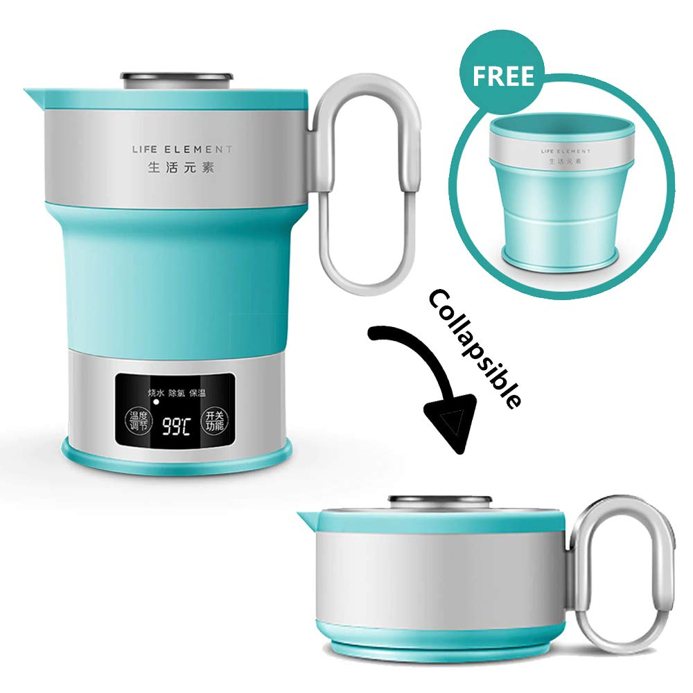 Kbxstart Electric Smart Water Kettle With Temperature Control Collapsible Travel Kettle Folderable Chaleira With Cup 110V
