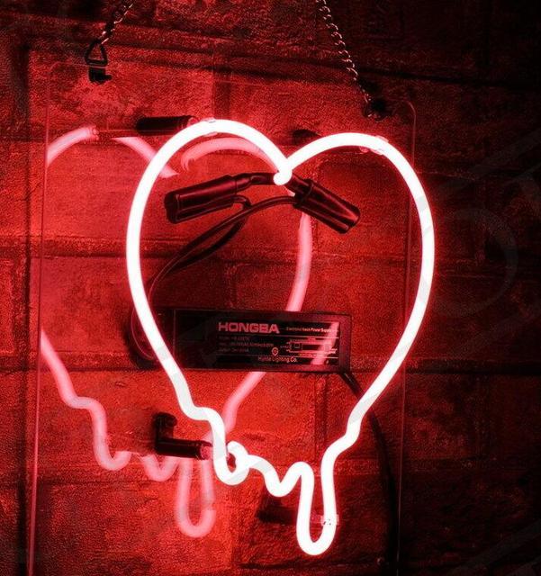 Custom Dripping Heart Glass Neon Light Sign Beer Bar