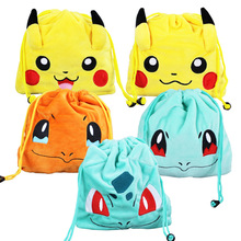 1Pcs Charmander Squirtle Bulbasaur Plush Toy Drawstring Bag 5 Styles Selectable 20*20cm