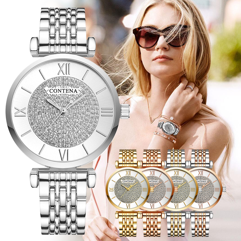 CONTENA Watch Women Diamond Fashion Ladies Watch Relogio Feminino Women's Dress Watch Clock Reloj Mujer 2019 Zegarek Damski