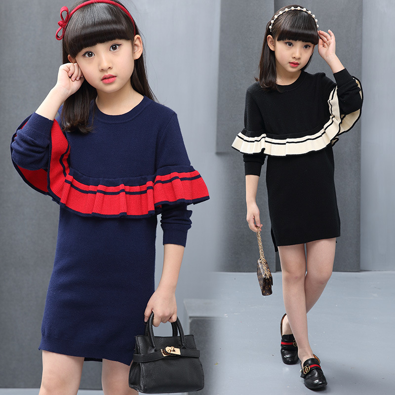 Big children Teenager kids girls clothing Autumn Winter Ruffles Knitted sweaters dress for girls 5 6 8 7 9 10 12 13 years old 57 girls dress winter 2016 new children clothing girls long sleeved dress 2 piece knitted dress kids tutu dress for girls costumes