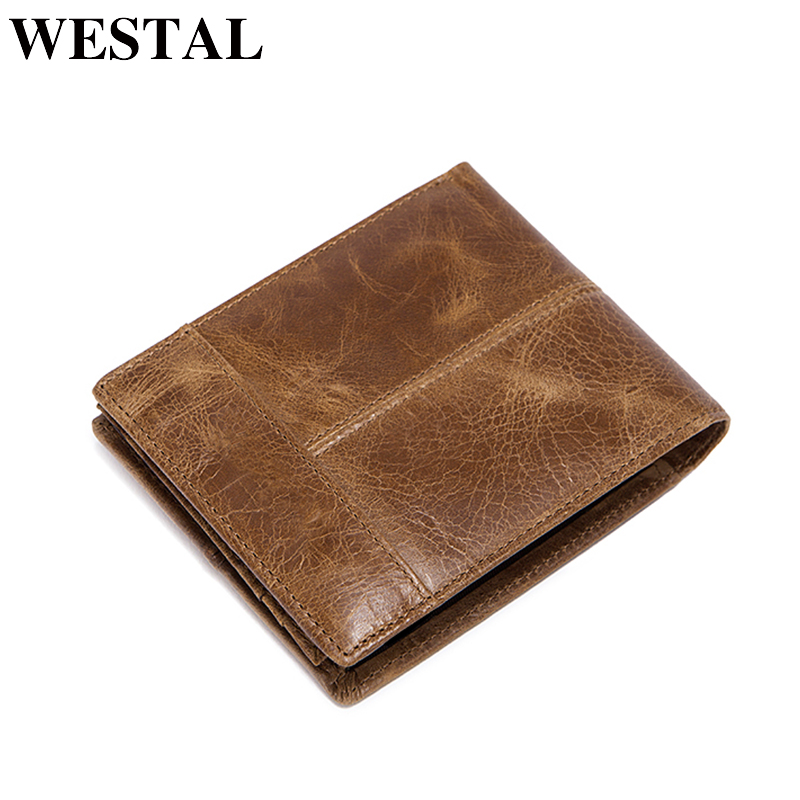WESTAL Wallet mannlige ekte lær korte lommebok menn Vintage Cow Leather Casual Man lommebøker Purse Standard Card Holders 8064
