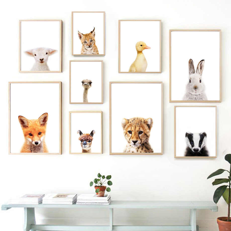 Nordic Posters And Prints Fox Ostrich Alpaca Sheep Tiger Animals Wall Art Print Canvas Painting Wall Pictures For Baby Kids Room