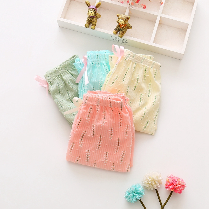 Summer Baby Girls Leaf Print Casual Loose Kids Elastic Waist Thin Trousers Infant Anti mosquito Pants