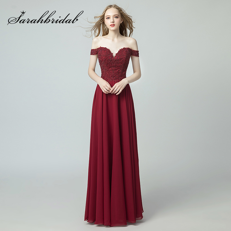 2019 Light Luxury A Line Prom Dresses Lace Beading Burgundy Chiffon Evening Gowns Sexy Off the