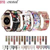 Bracelet en cuir pour Apple Bracelet de montre 44mm 40mm i Bracelet de montre 38mm 42mm Floral imprimé Bracelet de montre montre Apple 5 4 3 2 1 44 40