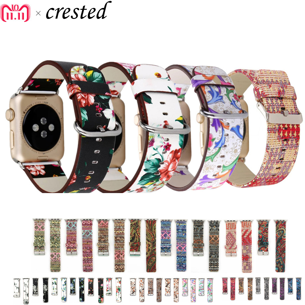 Leather Strap For Apple Watch Band 44mm 40mm Iwatch Band 38mm 42mm Floral Printed Watchband Bracelet Apple Watch 5 4 3 2 1 44 40