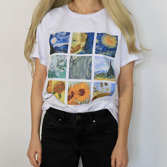2018 mujeres divertidas camiseta Vogue verano Tops ropa femenina Van Gogh impresión cuello redondo más Modal manga corta camiseta de las mujeres