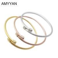 New Fashion 3 Colors Rose Gold Gold Silver Bangle Bracelet European Women Girls Cuff Bracelet Jewelry