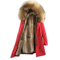 winter jacket women outwear Streetwear Natural fur lining parka Natural Fox Fur raccoon fur Collar Hood Rabbit Fur Liner