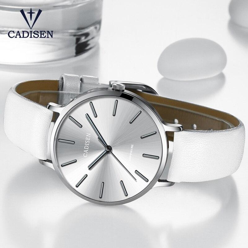 2017 White Watch Luxury Brand CADISEN New Geneva Ladies Quartz Wristwatch Ultra Thin Bright Hands Female Clock Relogio Feminino ogio ladies jewel polo xl bright white