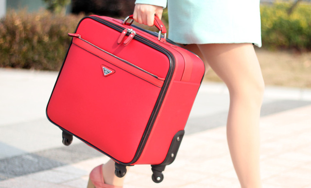 16'' Women Candy Color Carry On Ladies Spinner Travel Suitcase ...