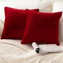 1 pc Solide Kissen Deckt Weichen Samt Rot Kissen Abdeckung Hause Dekorative Für Sofa Bett Stuhl 45x45 40x40 30x50 cm housse de coussin