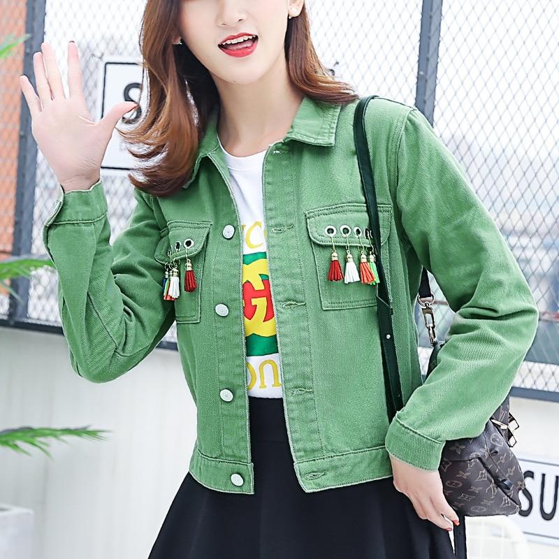 Harajuku Fashion Solid Color Denim Women   Jacket   Retro Cotton Lapel Slim Denim   Basic     Jacket   Coats Sweet Stitching Fringe   Jackets