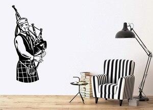 Image 1 - 壁ビニールアップリケスコットランドミュージシャン国家音楽アイルランド Bagpipes ポスターホーム寝室アートデザイン装飾 2YY24