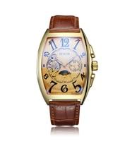 SEWOR Tourbillon Mechanical Men's Watch Moonphase Gold Genuine Leather Bracelet Luxury Men's Automatic Watches
