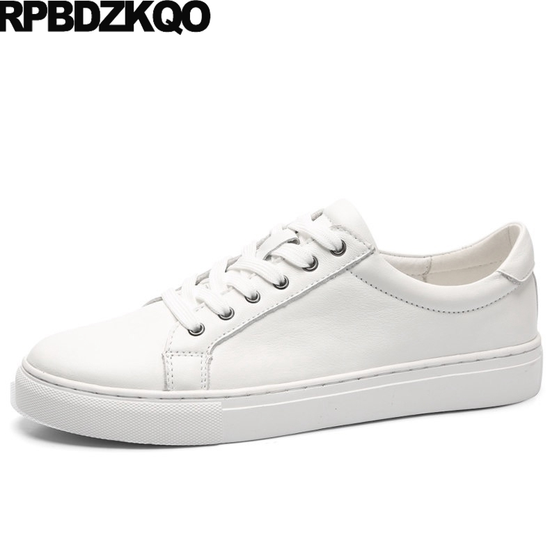 Walking Men Shoes Casual Leather 2017 Skate Breathable Trainers White Solid Big Size 11 Lace Up 46 Hot Sale Fashion Spring vik max factory outlet white figure skate shoes two size left ice skate shoes cheap figure skate shoes