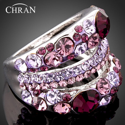 CHRAN Rhodium Plated Costume Women Rings Jewelry Wholesale Fashion Crystal Engagement Wedding Rings