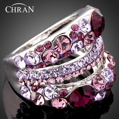 Purple Crystal Rhodium Plated Costume Women Jewelry Lovely Engagement Rings Wholesale Fashion Imitation Diamond Wedding Rings