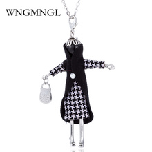 WNGMNGL Fashion NEW Doll Pendant Necklace Rhinestone Lovely Dress Cute Women Doll Necklace Sweater Chain Statement Jewelry