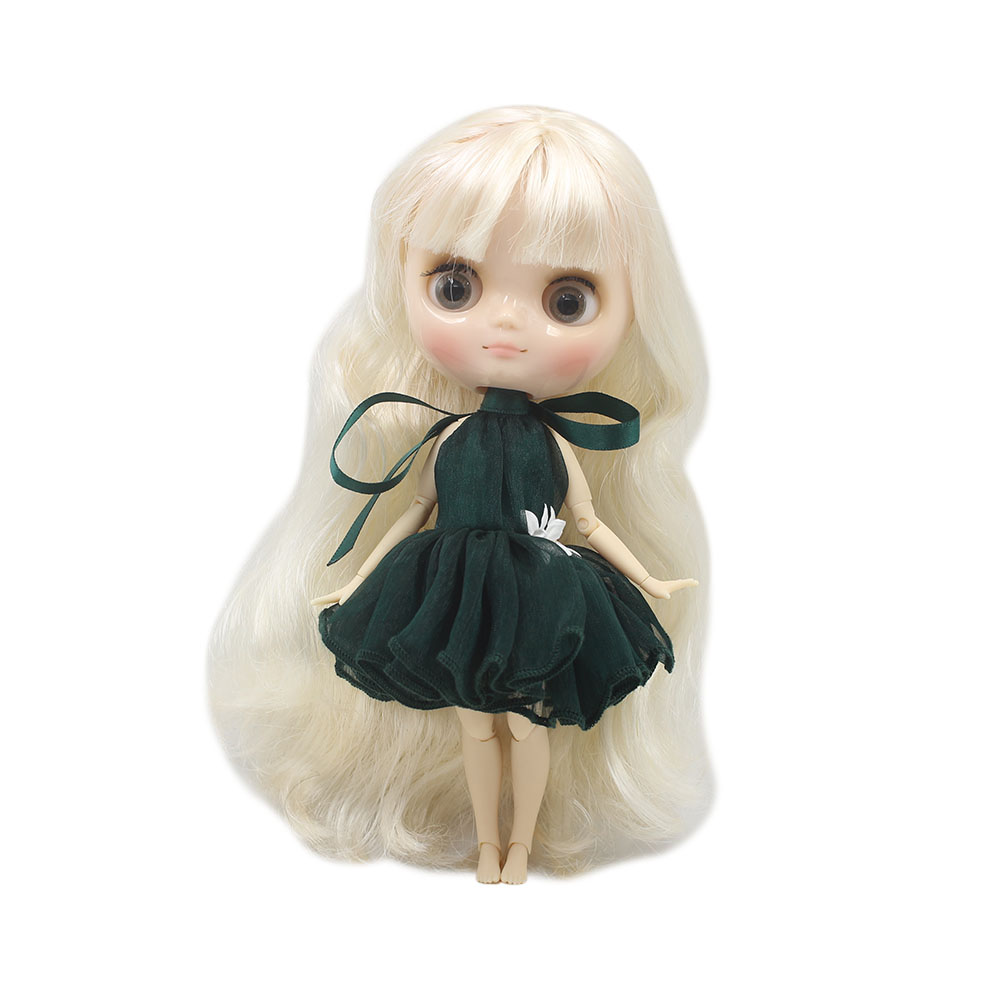Nude middie blyth joint doll white hair Transparent face suitable DIY gift for girl like the