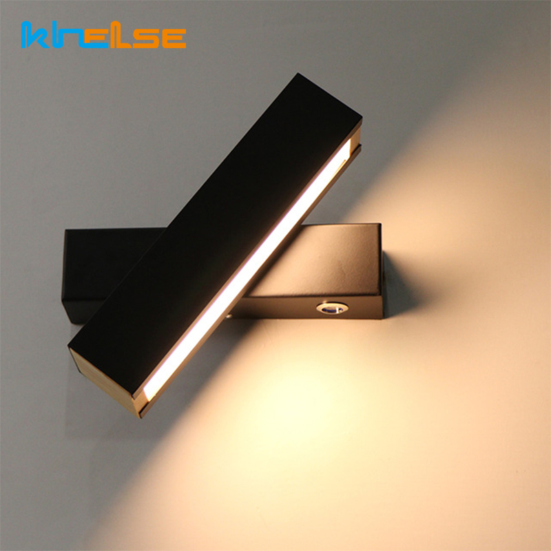 LED Wall Lamp Wood Modern Bedroom Hotel Wall Light Rotation adjustable bedside light Indoor Living room Porch Aisle Lamp Decor fashion nordic living room bedside wall lamp porch balcony porch light solid wood creative light simple black and white