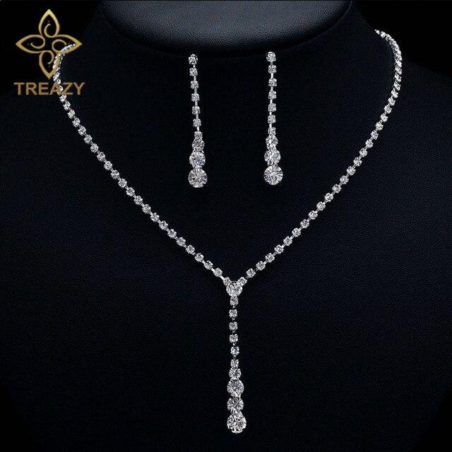 Treazy Silver Color Tel Drop Crystal Bridal Jewelry Set Elegant Necklace Earrings Bridesmaid Bride Wedding