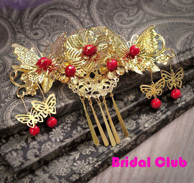 Gold Red Ancient Bride Hair Jewelry, Classical Handmade Butterfly with Flower Insert Hair Comb Hair Tiaras with red Pearl
