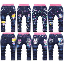 New spring autumn baby girls jeans children cartoon kitty rabbit trousers kid casual pants retail 2-5 years old free shipping cheap Elastic Waist Straight JP001 Fits true to size take your normal size Unisex Light