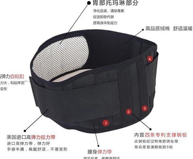 Réglable Tourmaline Auto-échauffement Thérapie Magnétique Ceinture de Soutien de Taille Lombaire Retour Taille Brace Double Bande Soins de Santé