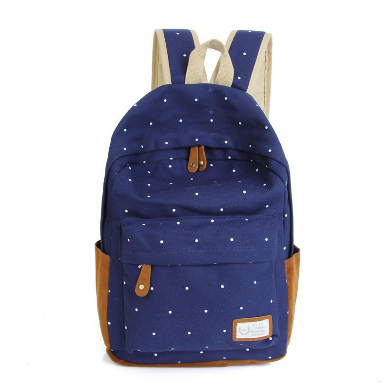 2017 Dot Printing Canvas Women Backpack Travel Bag Fashion for Teenage Girls School Bags Bolsas Mochila