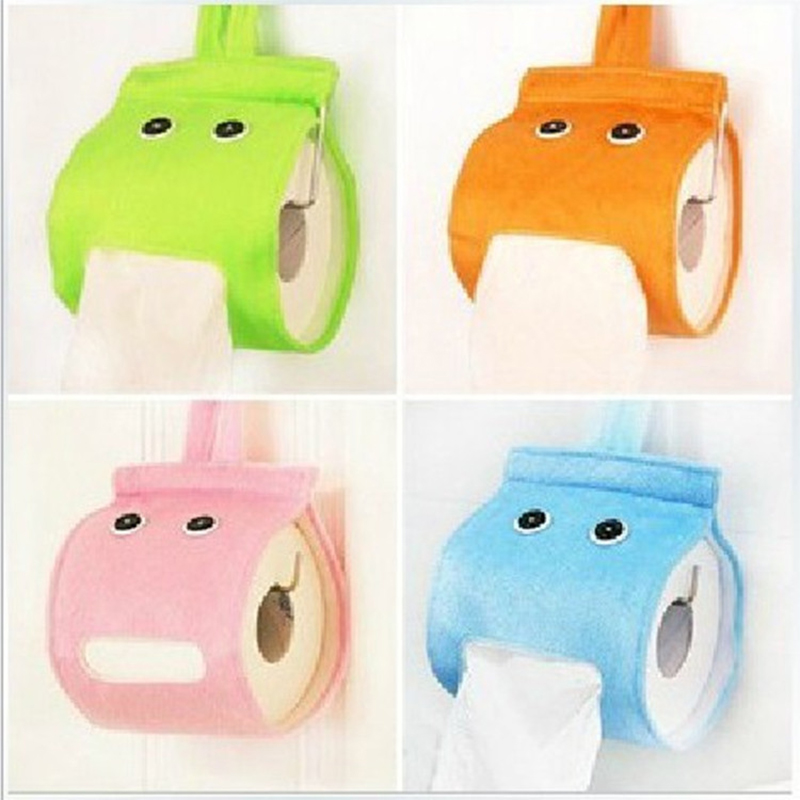New Plush Cloth Toilet Paper Holder Bathroom Roll Paper Holder Creative Wall Mounted Roll Tissue Container Hanging Bag