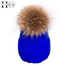 Hee Grand 2018 invierno lana de punto gorros gorras moda mujer Pieles de  animales pompom Beanie sombreros rojo grueso Sombreros . 1fb3beeac1a