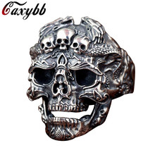 Punk Biker Skull Ring For Man Stainless Steel Unique Punk Men Cool Jewelry Vintage Streampunk Jewelry Motorcycle Ring(China)