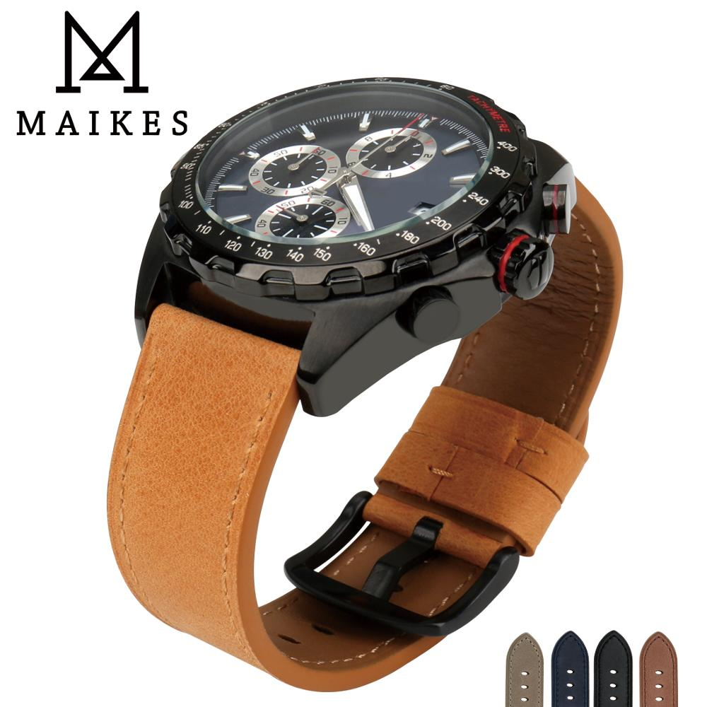 MAIKES Watch Strap Watch Accessories Genuine Leather 24mm 22mm Watch Band Wrist Watch Silver buckle Watchband For Omega Panerai цена 2017