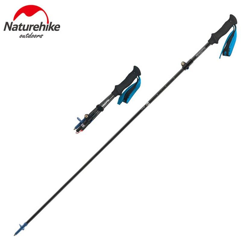 Naturehike Ultralight Carbon Fiber Trekking Poles 5-Section Adjustable Walking Sticks Outdoor Camping Hiking Climbing Canes 1pcs