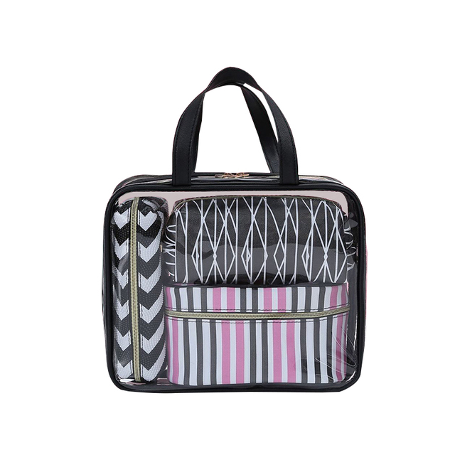 4 Pcs Set PVC Waterproof Striped Cosmetic Bag Transparent Zipper Makeup  Pouch Travel Beauty Wash 162bc8e517b4b