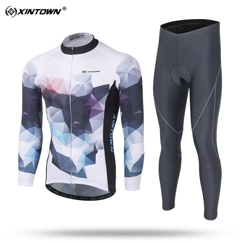2107 New arrival Spring Autumn Long Sleeve Elastic Fabric Quick Dry Ciclismo Mans Cycling Jersey Sets GEL Pad Bicycle Clothing 2107 new 100