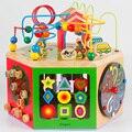 Cuentas Con Cuentas alrededor de la gran caja de juguetes para niños de madera del rompecabezas