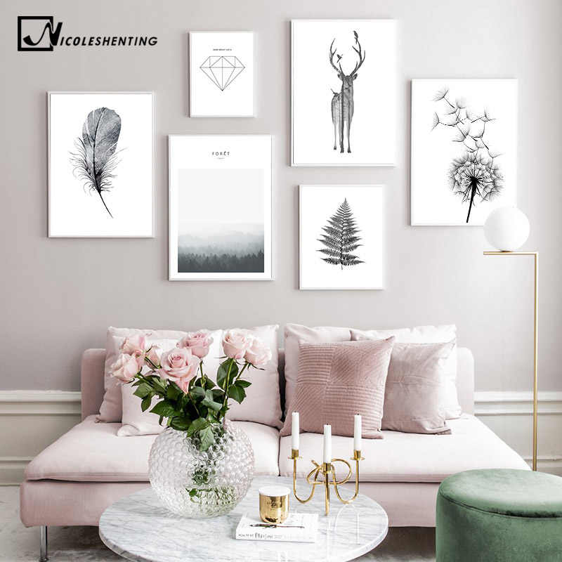 Scandinavian Poster Black White Deer Dandelion Nordic Style Wall Art Canvas Print Painting Decoration Picture Living Room Decor