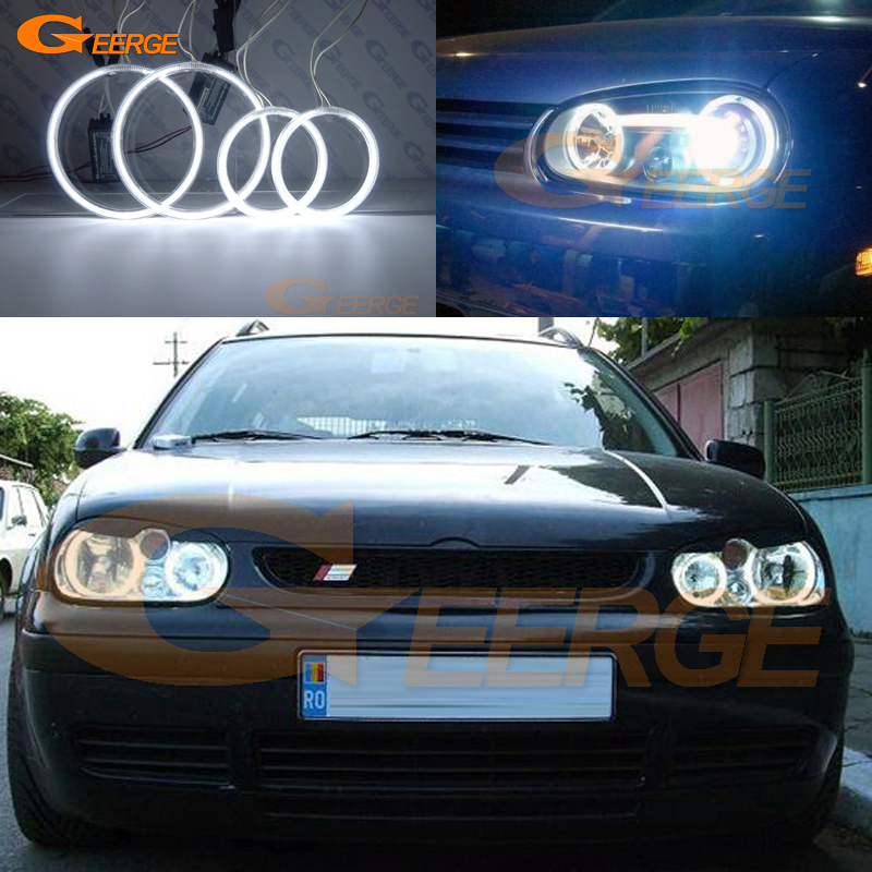 For Volkswagen VW Golf MK4 R32 GTi VR6 1998-2004 Excellent Ultra bright illumination CCFL Angel Eyes kit Halo Ring for vw golf gti tdi r32 mk4 1998 2004 front bumper grill with led angel eyes fog lights switch wiring kit 9443