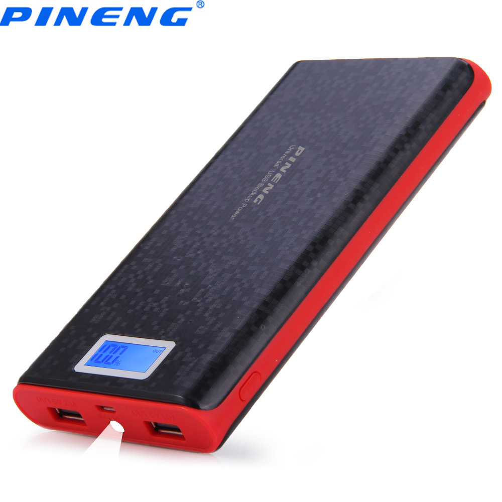 PINENG PN 920 20000 мАч Мощность Bank внешняя Батарея Зарядное устройство мобильного телефона Батарея Зарядное устройство с двумя USB ЖК-дисплей фонарик
