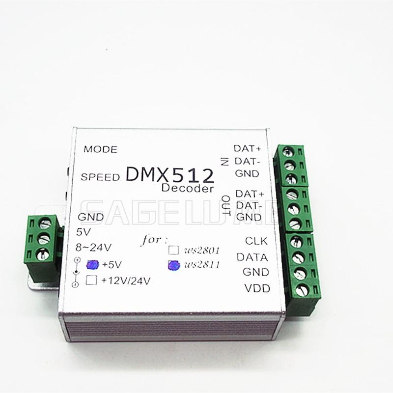 best price 1 pcs DC5V ws2812b ws2811ic DMX512 LED RGB Controller dmx512 RGB decoder controller for led strip light led lamp