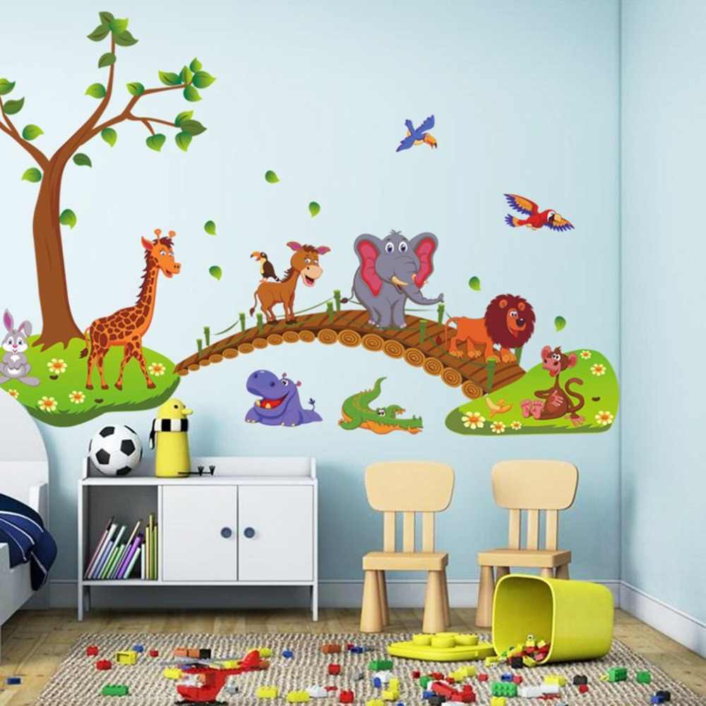 Kawaii Big Jungle Animals Bridge PVC Wall Stickers Kids Bedroom Wallpaper Decals Children Bedroom Nursery Decoration