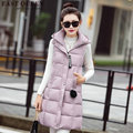 Vests women winter warm long hooded winter vest winter coat women 2016 new arrivals woman vest 2016   AA1269