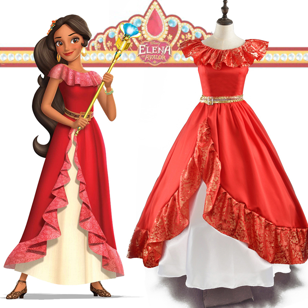 Elena of Avalor Princess Elena Cosplay Costume Red Ball Gown Adult Women Princess Dress Up Halloween Carnival Costume AuraPicco