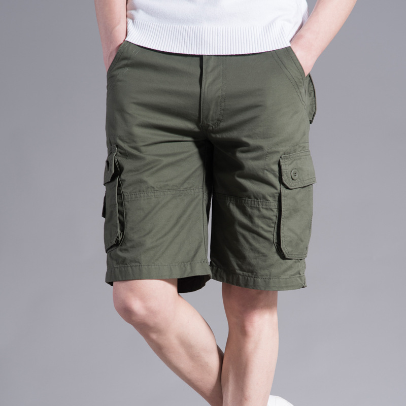 Clothes 2019 Summer Cargo Shorts Men Cotton Joggers Casual Short Pockets Sport Print Knee Length Green Camouflage Street Wear