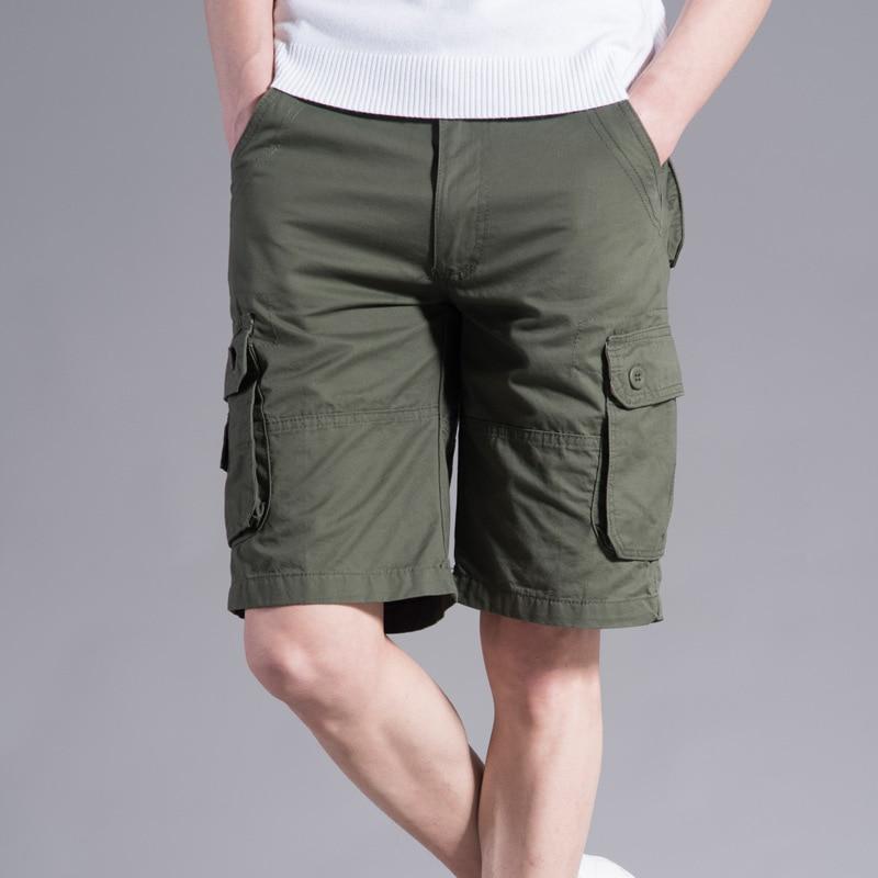 Clothes 2019 Summer Cargo Shorts Men Cotton Joggers Casual Short Pockets Sport Print Knee Length Green Camouflage Street Wear