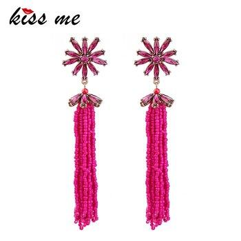 KISS ME Women Long Earrings Trendy Fashion Rose Red Acrylic Beads Flower Drop Earrings Women Bijoux