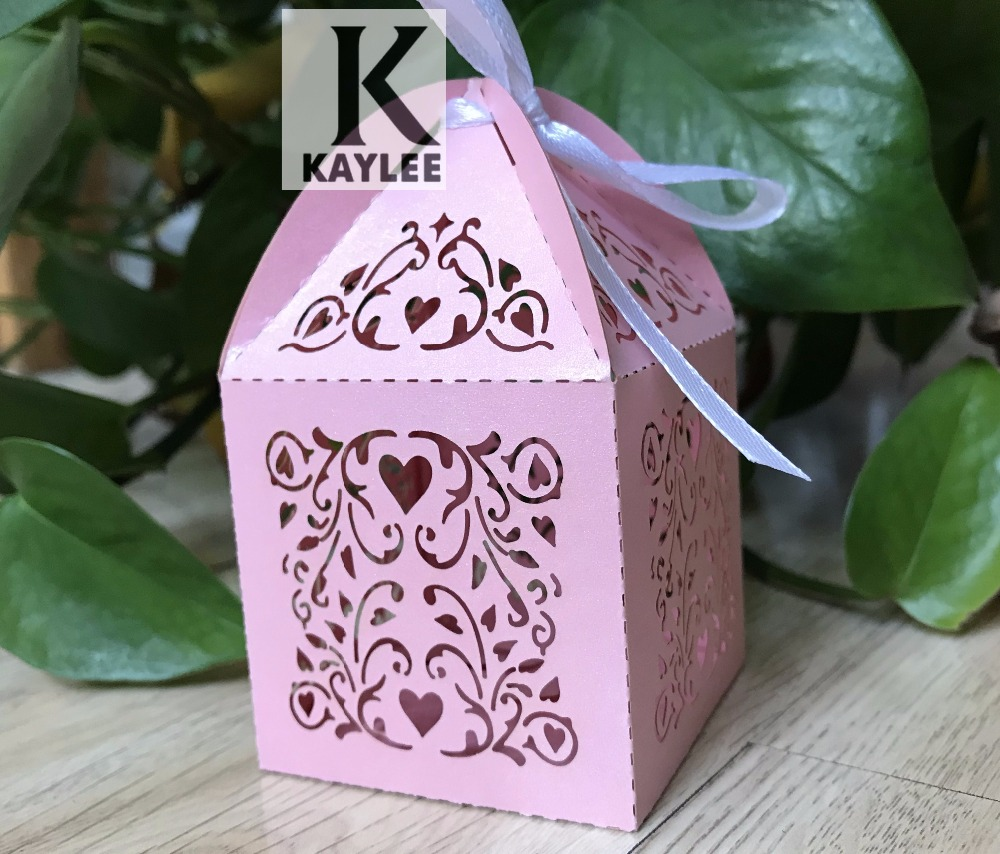 100pcs 2*2*3.3inches Laser Cut Wedding Favor Boxes with ribbon ...